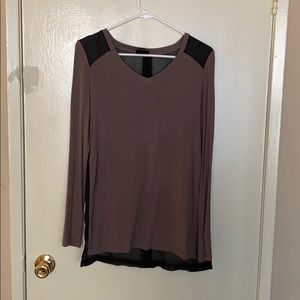Long sleeve brown shirt with sheer black back